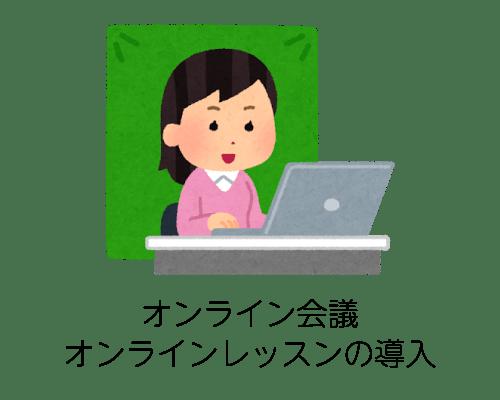 オンライン会議、オンラインレッスンの導入